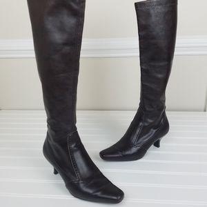 Franco Sarto Low Heel Knee High Brown Boots Size 5